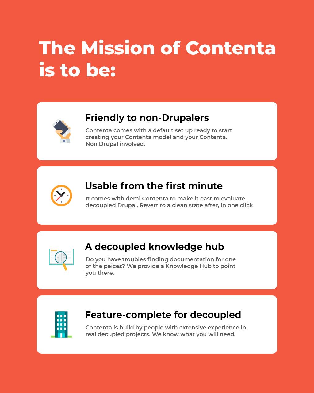 illustration image showing the for mission statements for contenta in a text format in orange and white colours