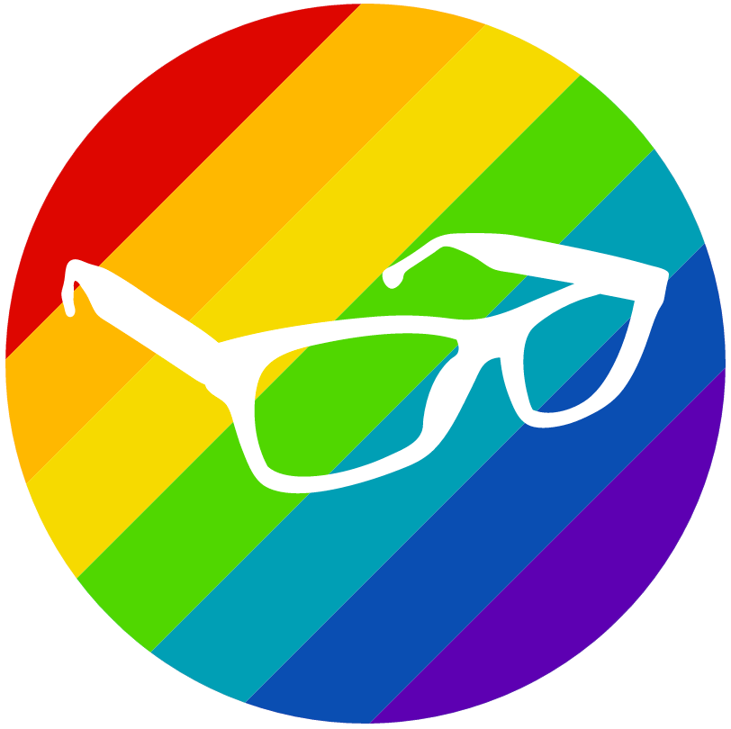 Image of reading glasses placed on a rainbow background