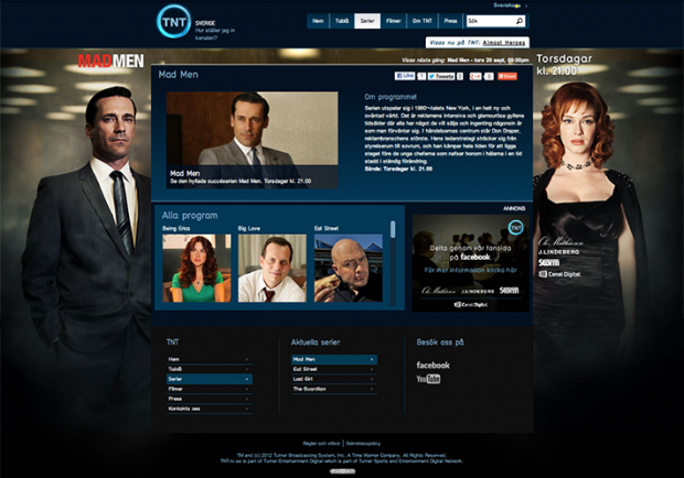 A screenshot of the homepage of Turner Broadcasting General Entertainment