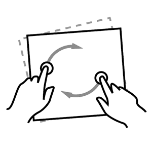 illustration image showing a fingers rotating a paper in black colour