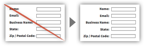 Form labels left-aligned to the input field on left striked red & right-aligned with the input field on right.