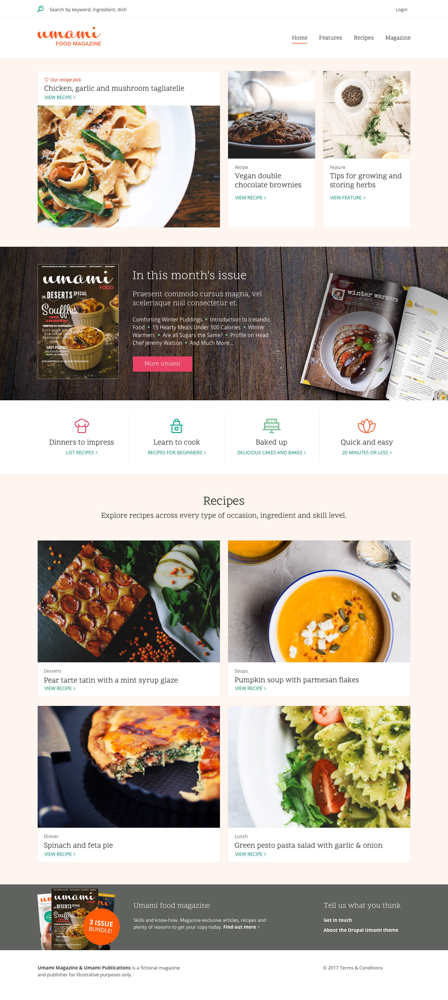 desktop version of a website with photos of food and cutlery