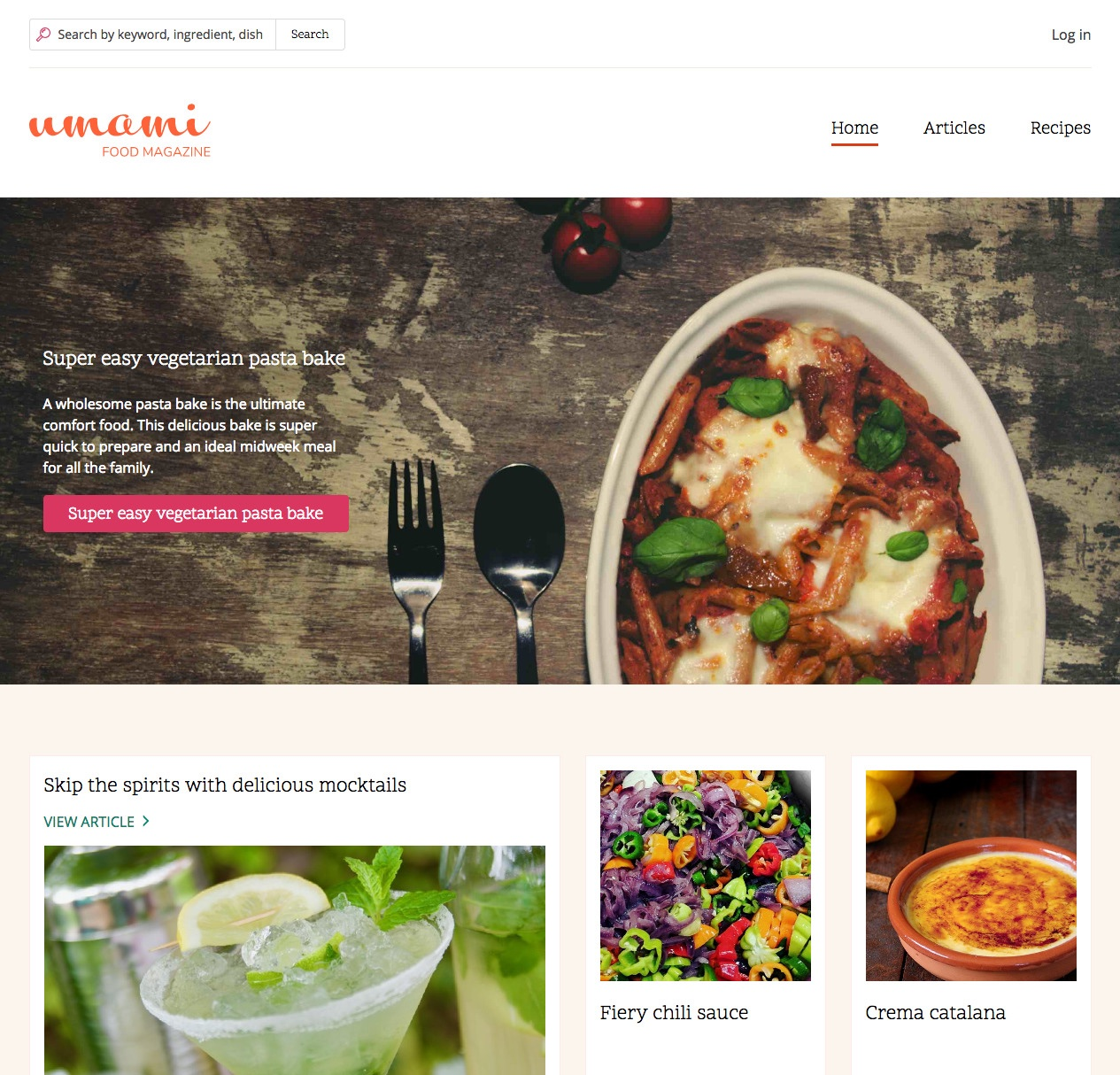 Website of Umami food magazine with images of food on a plate and spoons