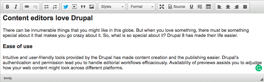 WYSIWYG editor in Drupal; CKEditor; content added in the CKEditor