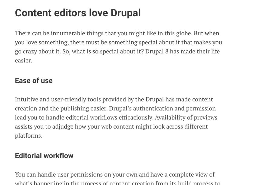 WYSIWYG editor in Drupal; CKEditor; Final output