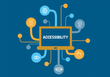 Image of a laptop whose screen says accessibility and many accessibility images are connected to the screen
