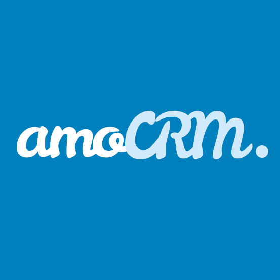 amocrm written in a blue background