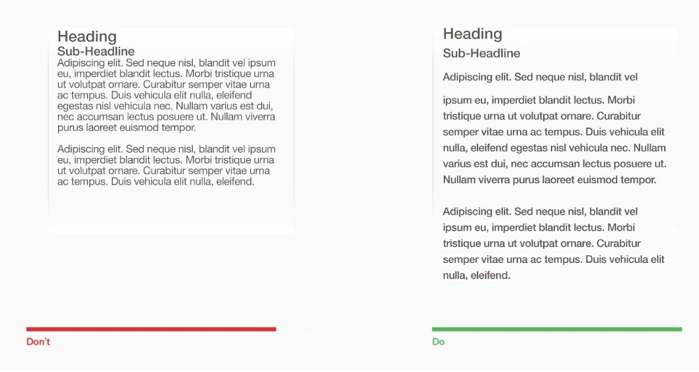 An example of content structure with poor space on the left and another example with proper spacing on the right.