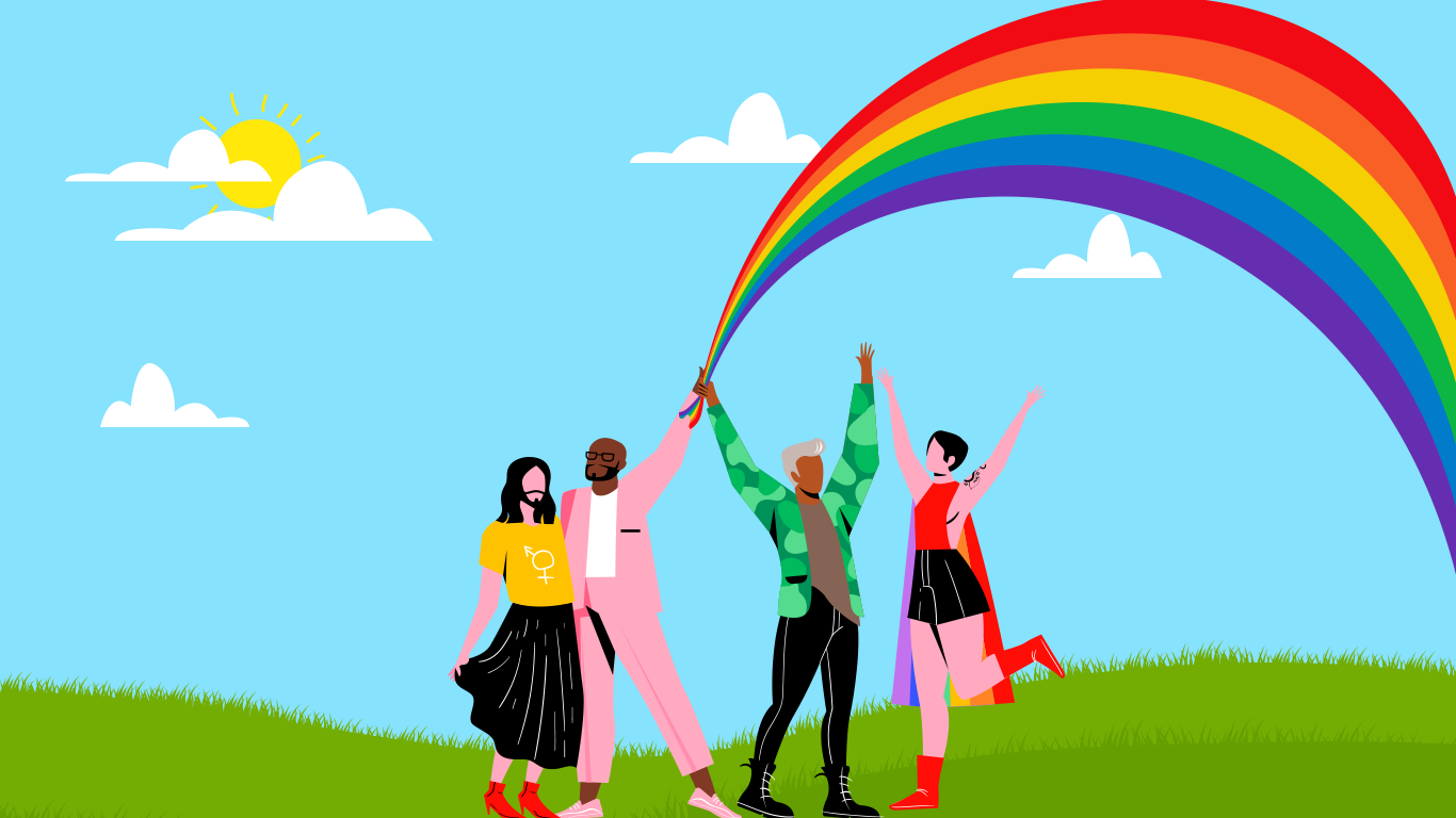 Four people holding a rainbow like flag with clouds and sky in the background