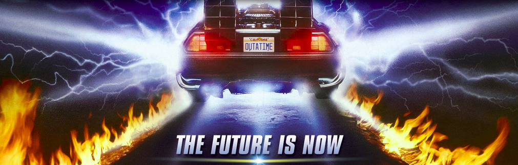 An illustration showing the rear view of a red car with fire on the road and a text 'The future is now' at the bottom