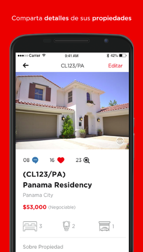 illustartion image showing the clasifika home page on a mobile screen on a red background having house image and its description on the screen