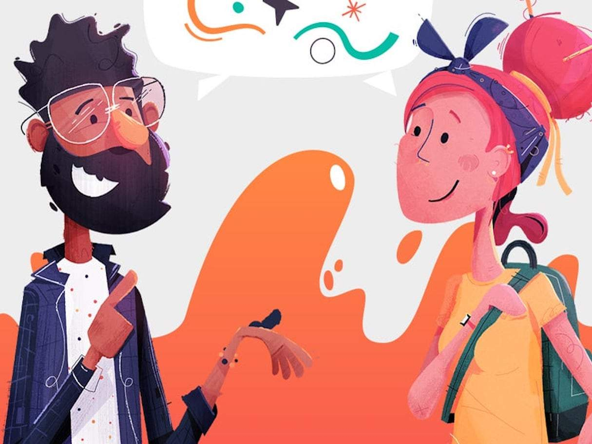 Illustration showing a man with the beard and a lady with a backpack having a conversation