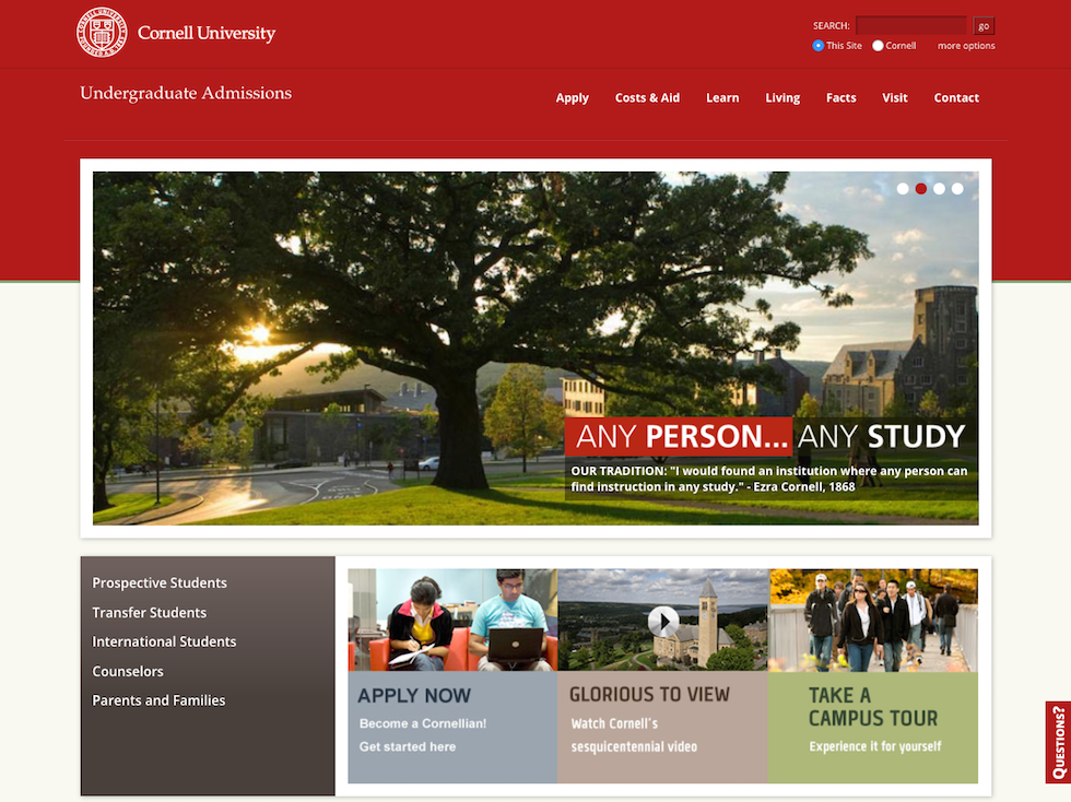 Screenshot of the home page of Cornell University's official website