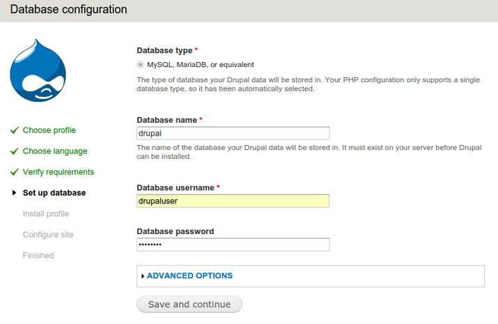 Drupal database configuration; selecting the database username and entering password