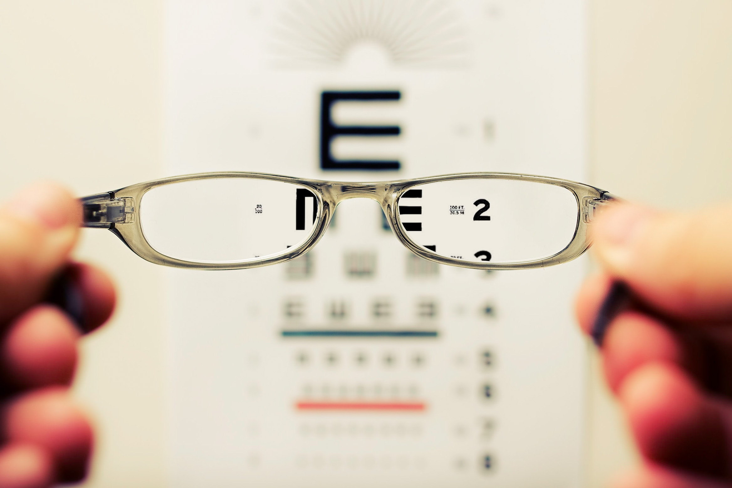 vision through a pair of reading glasses