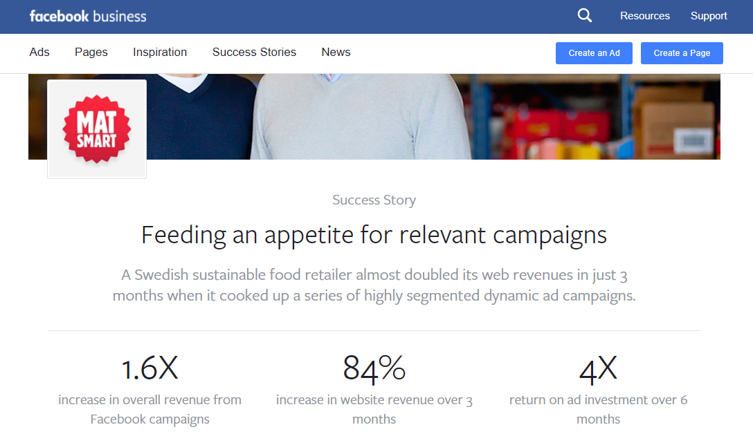 Facebook Business statistics showing the improvements seen through personalised marketing campaigns