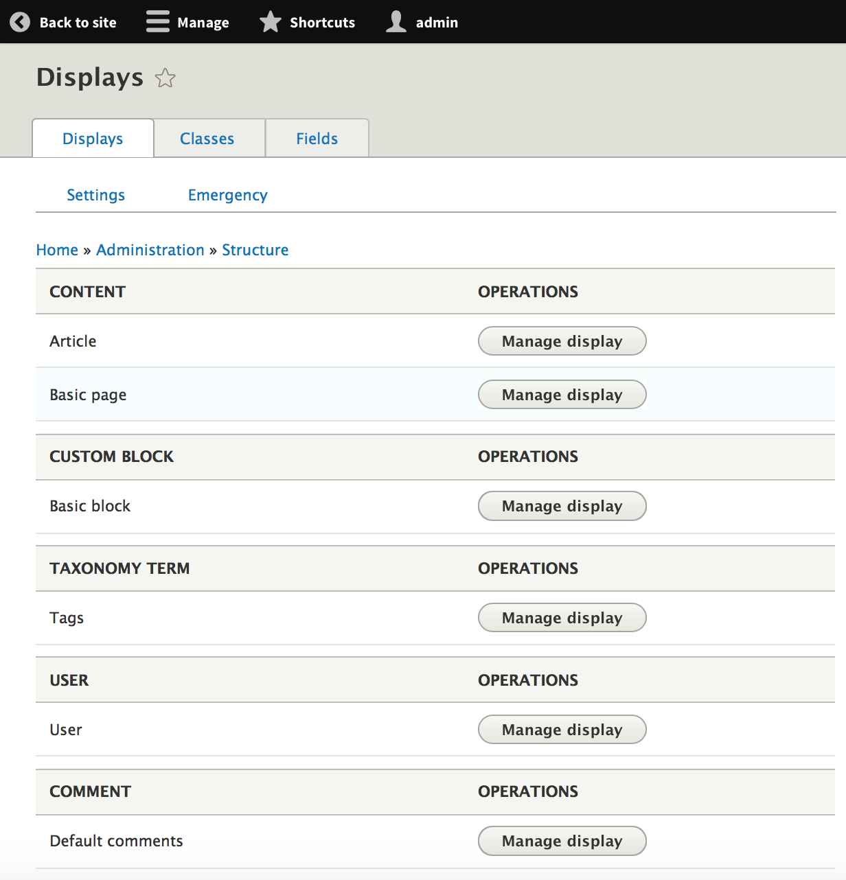 Display suite drupal module interface with different options