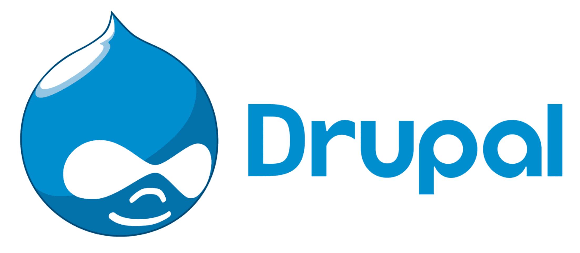 The Drupal logo is seen.