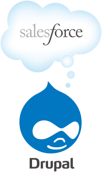 Image of Drupal logo in the bottom with a speech ink bubble that says salesforce