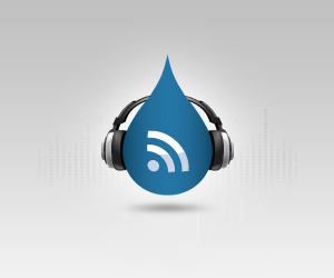 White background with Drupal logo wearing headphones.