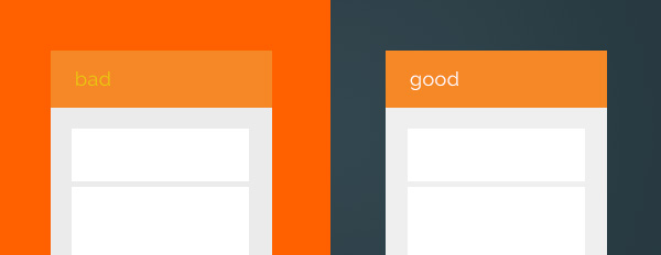 illustration image showing two screens showing colour combinations in blue orange and white colours