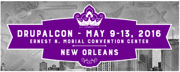 logo of drupalcon new orleans 2016 showing buildings in the background