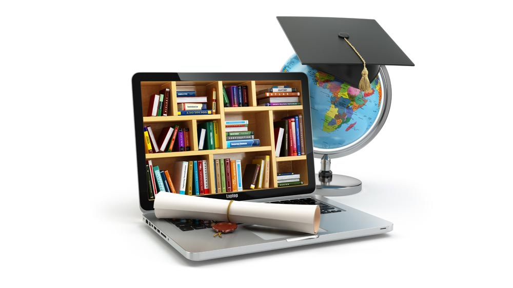 picture of a laptop which hjas book shelf in it. A degree in lying at the corner of the keyboard. A globe is lying beside the laptop.