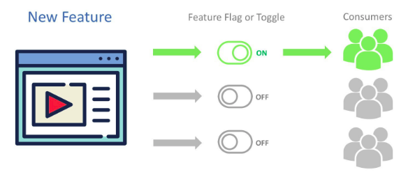 Illustration image a blue-colored feature on the left-hand side and the users on the right who can access the feature only when the button is switched-on in green color