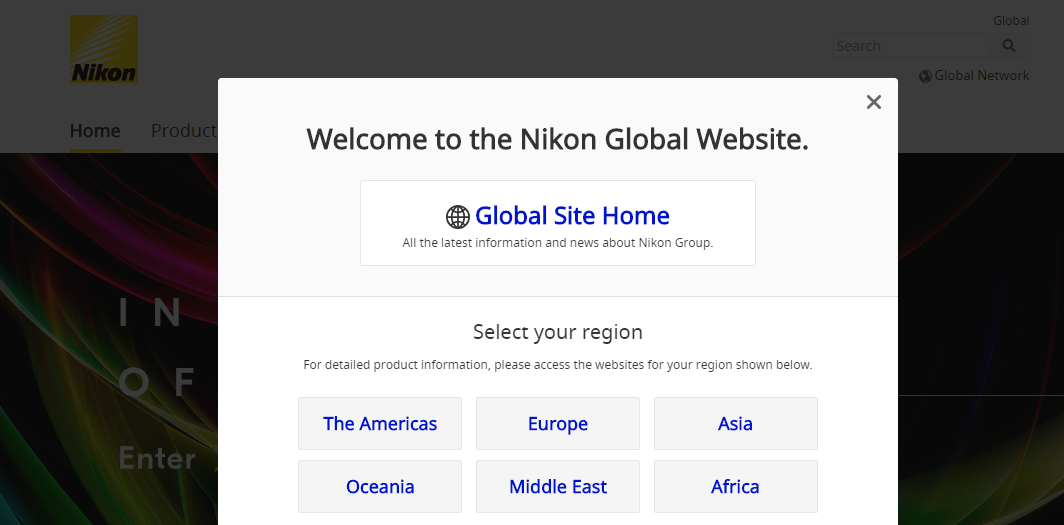 Pop up welcome message on Nikon website asking to select the region from six options.