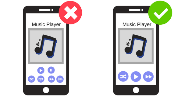 illustration image showing two mobile phones in black colour showing music player in the screen