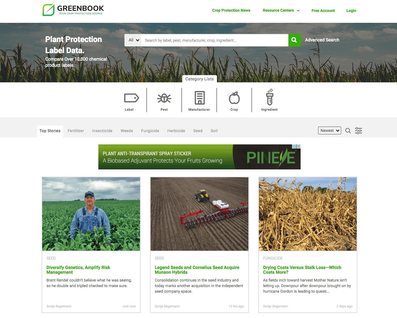 homepage of greenbook with various blocks