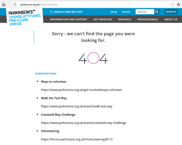 A 404 error in Parkinson's UK website. 404 written and 4 suggested pages below that