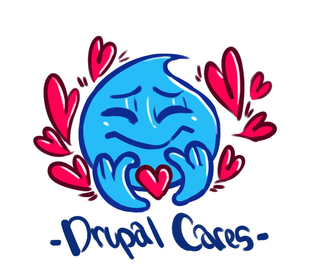 A drop shaped icon with hearts surrounding it and Drupal Cares written below it