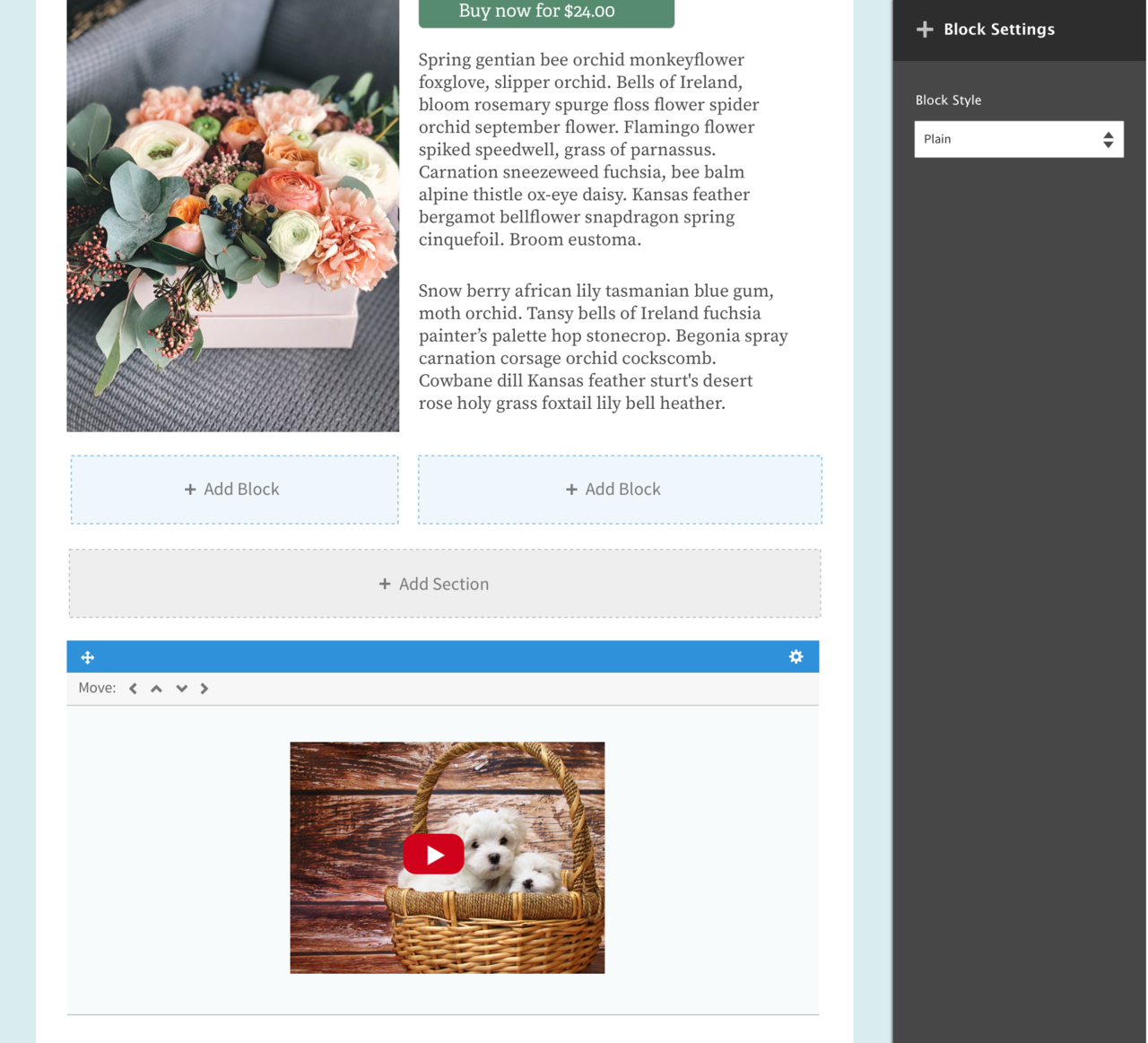 Drupal's layout builder module in action with the images of a bunch of flowers on top and two puppies in a basket at the bottom