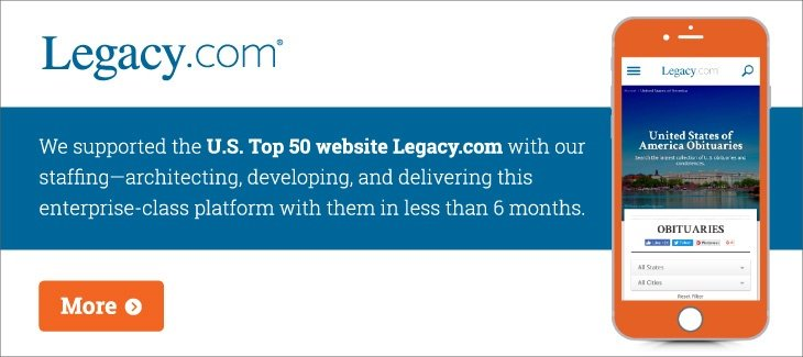 Screenshot of the home screen of legacy.com