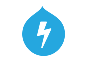 Image of the Drupal logo. With a blue background in the drop where a lightning sign is inside