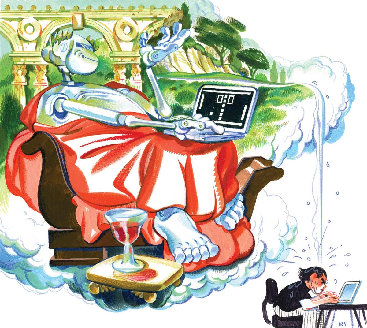 A robot sitting on a brown chair, draped in a red blanket, working on a laptop with a glass of wine beside him and river water falling over a real human working on a laptop