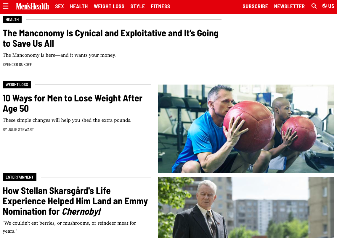 illustration image showing mobile freindly home page of men's health magzine with images of men,advertisments  in boled lettersin different colours