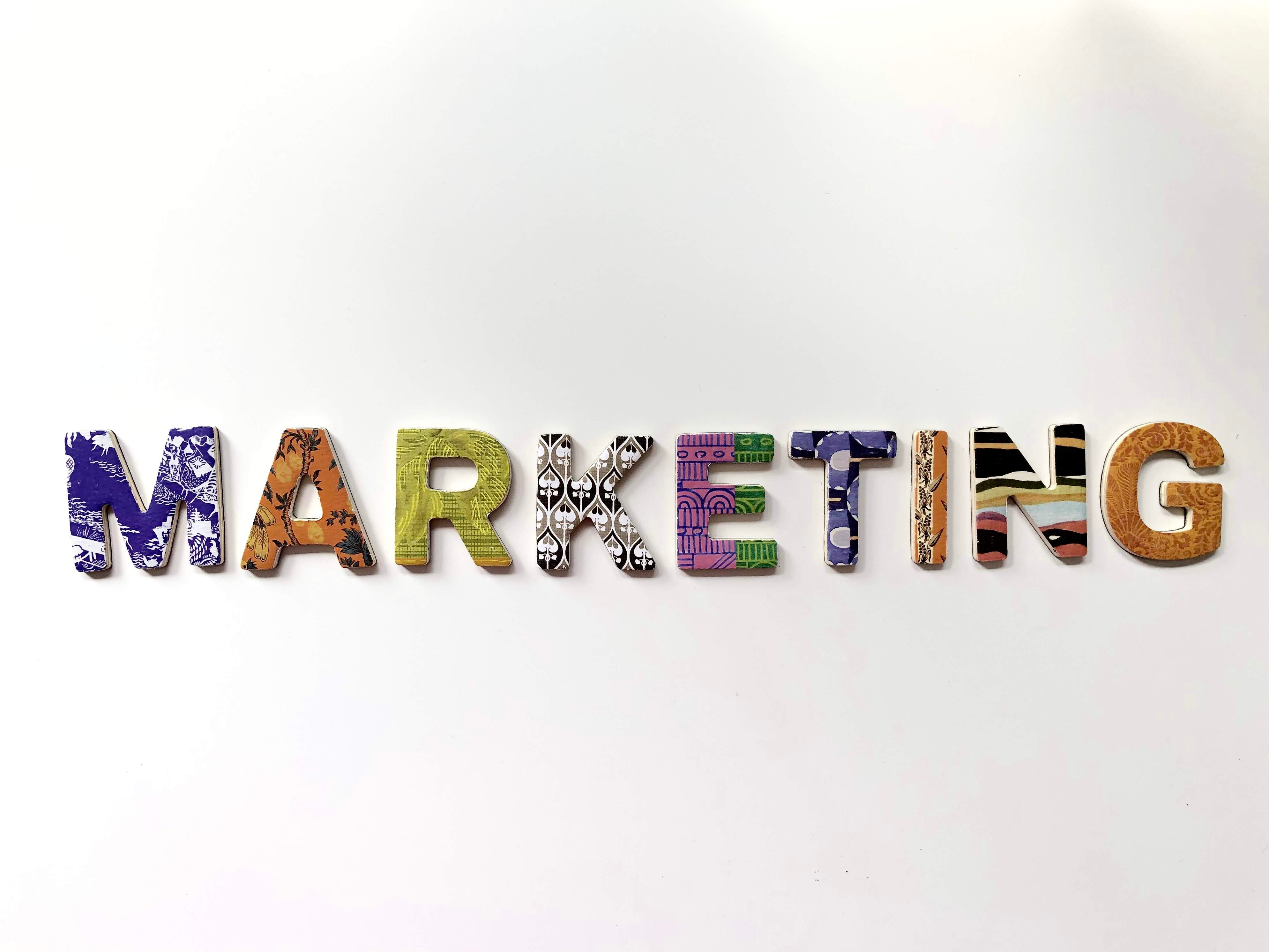 marketing on white background