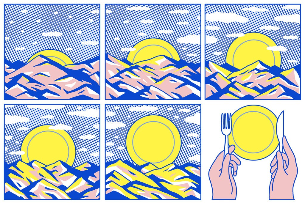 Illustration showing a transition of sunrise into a plate with spoon and fork with six different images in six different boxes