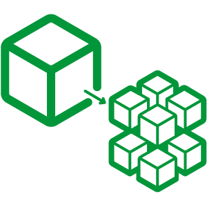 image showing a green colour cube divided into many green coloured small cubes