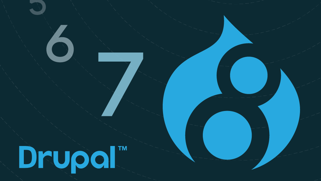Illustration showing logo of Drupal 8 and the word 'Drupal' with numbers 5,6 and 7 floating around