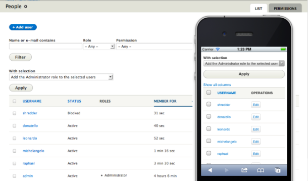 Drupal 8 mobile administration; example of mobile responsive website;