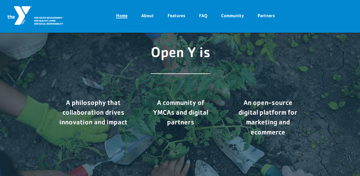 Homepage of Open Y with people planting saplings in the background
