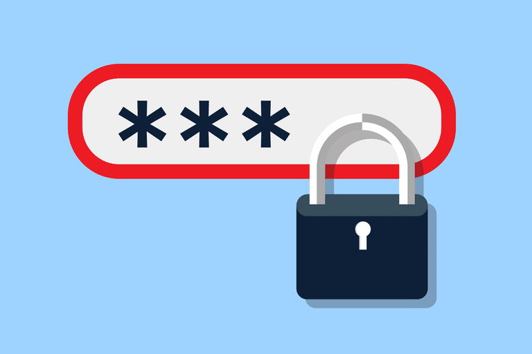 graphic for securing password; a lock and the password