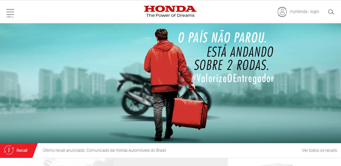 Home page of Honda Brazil's Website