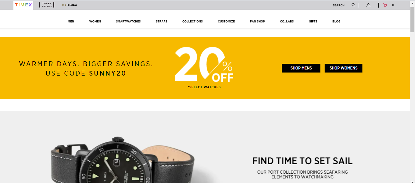 Home page of Timex's Website