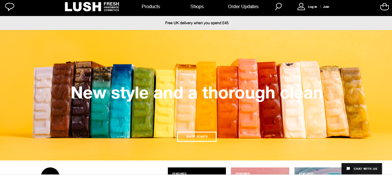 Home page of Lush's Website