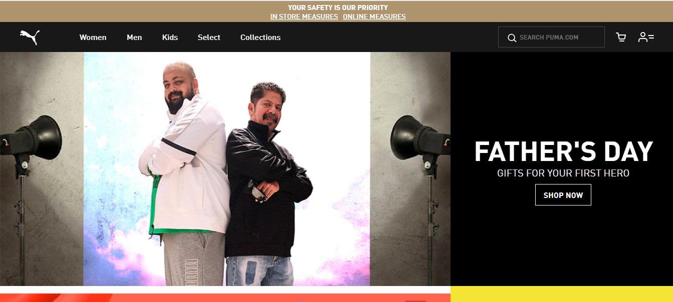 Home page of Puma's Website