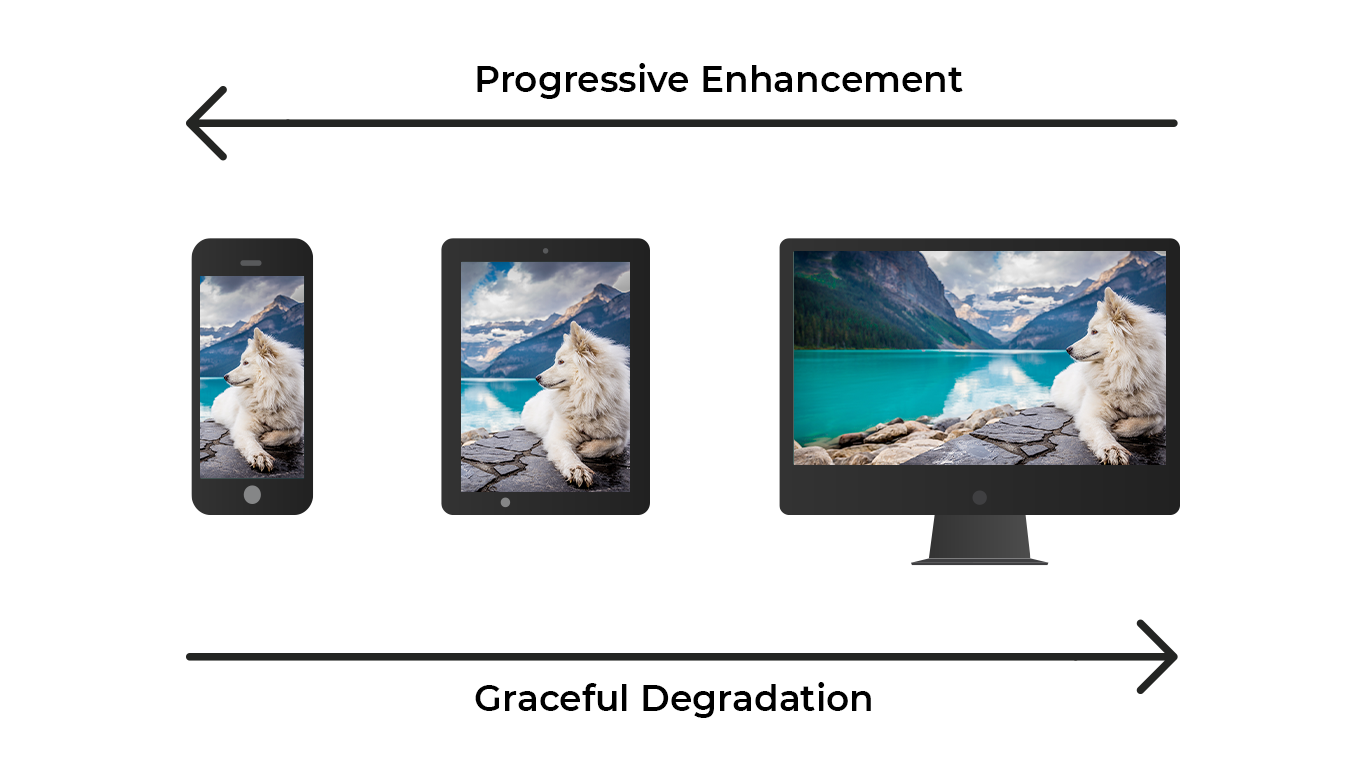 illusration image showing mobile phone, tablet and laptop in blak colour with image of white dog and blue lake in each screen